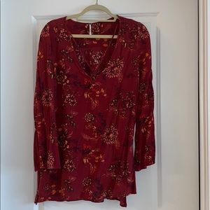 Free People Red Floral Tunic